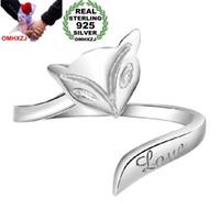 OMHXZJ Оптовая Мода Джокер Простой Милый Любитель Фокс Пара Стерлингового Серебра 925 открыть настроить женский для Женщины Мужчина Кольцо Подарок RG05