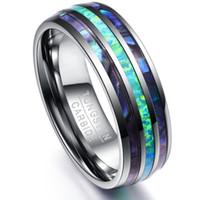 Somen 8mm Luksusowy Srebrny Tungsten Węglik Ring Blue Fire Opal Shell Inlay Dla Mężczyzn Kobiety Ślub Pierścionek zaręczynowy Bague Homme Y19052201