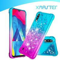 Voor Samsung Note 10 Plus A10E iPhone XS MAX XR GELDUAL VERANDERING COLLEME TPU PC Cellphone Shell Liquid Sneldsand met Diamond Phone Case