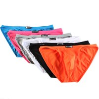 Wholesale Men' s Sexy Briefs 6pcs lot Smooth Ice Silk Un...