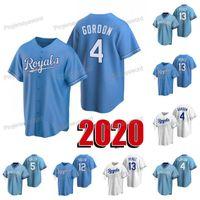 2020 Nova temporada 4 Alex Gordon Jersey 5 George Brett 12 Jorge Soler 13 Salvador Perez Mens Womens Youth Custom Beisebol Jerseys Branco