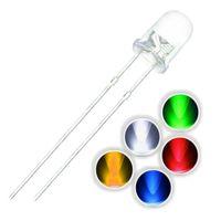 100pcs / lot F3 5 색 울트라 브라이트 3MM 라운드 워터 클리어 그린 / 옐로우 / 블루 / 화이트 / 레드 LED 라이트 램프 방출 다이오드 Dides