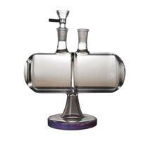 Wholesale gravedad invertible bongs de vidrio de gravedad infinito tubos de agua de la cascada de infinidad, plataformas de dab de 14 mm con plataformas de aceite gruesas de 14 mm, púrpura verde XL-2061