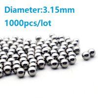 Sfere d'acciaio del cuscinetto a sfera del diametro 3.15mm del diametro 1000pcs / lot trasporto libero di alta qualità delle sfere