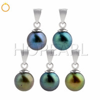 Round Pearl Pendant Freshwater Peacock Green and Blue 925 St...
