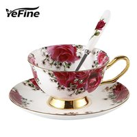 Yefine Ceramic Afternoon Black Tea Cups And Saucers Bone Chi...