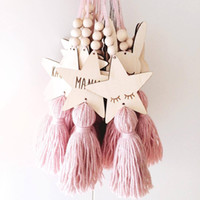 Nordic Style Cute Star Shape Wooden Beads Tassel Pendant Kid...