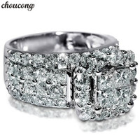 choucong Vintage Court Ring 925 sterling Silver Square Diamo...