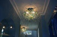 Lampadari di cristallo contemporaneo per soggiorno Camera da letto Top Quality Green Shade Green Lustri a mano in vetro soffitto a soffitto a soffitto Lampadario Lampadario