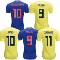 2018 Colombia soccer jerseys world cup colombia away blue football shirt  JAMES Rodriguez Camiseta BOCCA FALCAO CUADRADO maillot de foot aef37ad7d