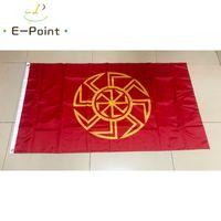 العلم ثمانية راي Kolovrat 90x150cm البوليستر الشمس عجلة رمز روسيا سلاف الرونية السلافية الرونية الأعلام واللافتات