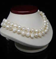 "32 "" Long 8- 9MM White Color Irregular Pearl Necklace"