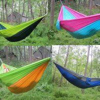 Duplo Lightweight Nylon Hammock Adulto Camping Outdoor Viagem Survival Garden balanço Hunting cama que dorme portátil Hammock KKA7904