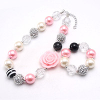 Mode Mädchen schöne Blume Perlen Halskette DIY Armbänder klobig Bubblegum-Schmuck Kinder für Geburtstagsgeschenk Halskette