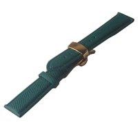 Bracelet en cuir véritable or vert avec boucle cuir Lizard Grain de peau de vache Montre boucle papillon accessoires 14mm 16 mm 18 mm 20 mm de