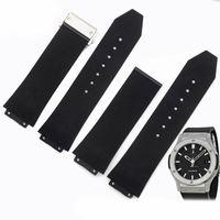 Accessoires de montre 23mm 26mm 28mm Hommes Femmes déploiement en acier inoxydable noir fermoir plongée en caoutchouc de silicone du bracelet montre bracelet pour HUB Big Bang