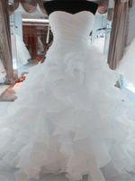Luxus Perlen Stickerei Brautkleider Prinzessin Kleid Schatz Korsett Organza Rüschen Cathedral Ballkleid Brautkleider billig