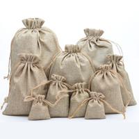 Jute Naturel Cordon Sacs Élégant Hesse Burlap Mariage Faveur Titulaire Sac Cadeau Pochette Pour Bonbons De Grains De Café