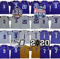 NCAA LSU 호랑이 9 Burreaux Jersey Odell Beckham Jr. Grant Delpit 2020 Peach Bowl 9 Jo Burrow Kristian Fulton Chase College Football Jerseys