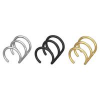 Toptan (TE-0083) 316L Titanyum çelik YOK Earhole Bahar Auricle Klip Küpe Erkekler Kadınlar Takı Için Altın / Siyah / Beyaz