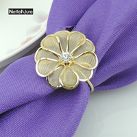 Mesh Flower Shape Serviette Holder Napkin Rings For Wedding ...