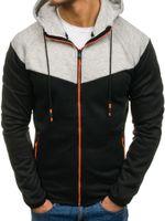 Hoodies dos homens moletons marca moda moda sportswear homens zíper cordão contraste cor tracksuit casual homem streetwear
