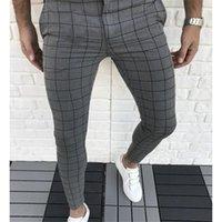 남성 바지 남성 의류 격자 무늬 패널로 디자이너 연필 바지 패션 천연 컬러 카프리 바지 캐주얼 스타일