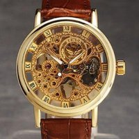 Gold hollow out manual mechanical watch sports business leisure leather watch for men leather watch band pin buckle