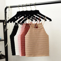 Knitted Drawstring Sling Backless Camis Summer Autumn Women ...