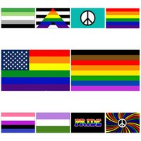 горячей Радуга флаг 90x150cm Американский Gay и Гей-Полиэфир Баннер Флаг Полиэстер Красочные Радуга флаг для украшения T2I51060