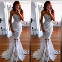 2019 New White Off Shoulder Wedding Dresses Long Lace Mermai...