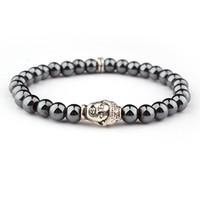 Bracelets en hématite en pierre naturelle pour hommes charmes bracelets concise chanceux hématite doré bracelet en argent bouddha élastique
