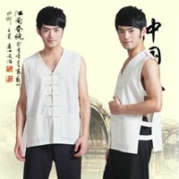 민족 의류 민소매 중국 전통 재킷 남성 고대 유니폼 당나귀 정장 TAI CHI Wushu 89