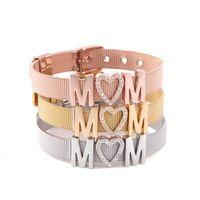 c189289dd714 Moda mujer pulseras regalos del día de la madre amor mamá pulseras  Rhinestone en forma de corazón de oro rosa pulsera Charm Chains