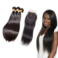 Color 1B Straight Hair Bundles With Closure Peruvian Hair 3 ...