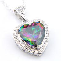 Luckyshine 10 ADET / Lot Kadınlar Kolyeler Kolye 12 * 12mm için 925 Gümüş Doğal Çok renkli Kalp yangın Mistik Topaz değerli taş Charm