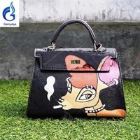 Hand- Painting Hand Drawing Cut Fawn Women Genuine Leather Ha...