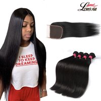8A Straight Hair With lace Closure Natural color Straight Hu...