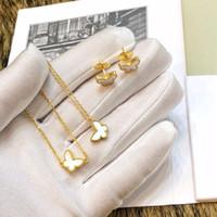 925 monili d'argento sterlina per le donne Madre di braccialetto anello Set mini orecchini collana di gioielli di perle farfalla