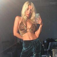 Tasarımcı Leopar Camiş Seksi Derin V-Yaka Hollow Out Camiş Moda Halter Dantel-up Camiş Kadın Giyim yazdır kadın
