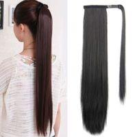 Cheveux Rebeautés 24 pouces Long long pince droite dans la queue de queue de queue de queue de queue de queue de cheval synthétique dans les extensions de cheveux Ponye naturelle