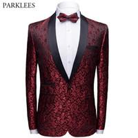 Floral Jacquard uomo Blazer Slim Fit Scialle Collar Mens Suit Giacca Nuovo Pulsante singolo Uomini Tuxedo Festa di nozze Blazer