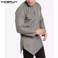 INCERUN Fashion Men Brand Shirt Long Sleeve Solid Color O Ne...