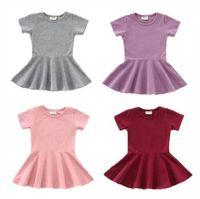Bebés vestidos del color del caramelo el vestido rizado algodón de manga corta volantes oscilación sólido de vestir para niños Ropa para niñas Trajes 9M-2T D6381