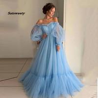 Satsweety 2021 Blauer Ballkleider aus der Schulter Prinzessin Kleid Tüll Backless Schnürung Abend Party Kleider Robe de Soiree