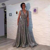 Gris Tallas grandes Vestidos de lentejuelas Barato Largo elegante Noche Árabe Vestidos formales 2018 Vestidos de baile 2019 V cuello Abendkleider Vestido de festa