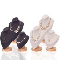 [ddisplay] نموذج خشبي beigeblack عرض مجوهرات المعرضة رشيقة قلادة الدائمة معرض الرجعية نمط الجمال قلادة عرض حامل