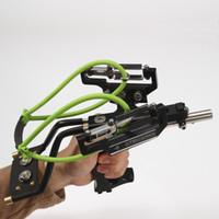 Potente catapulta láser caza tirachinas al aire libre banda de goma Tubo Cuero de PU Profesional Táctico Plástico Pocket Sling Shot Ball