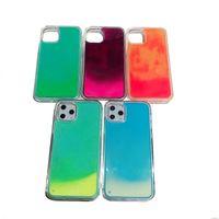 Liquide Lumineux Néon Sand Quicksand Cas de téléphone pour iPhone 11 Pro 5.8inch Glow dans la couverture sombre Foriphone XS MAX XR x 8 7 Plus