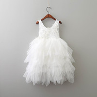 Summer New Girl Lace Dress Princess Flower Tiered Tulle Mid-...